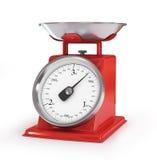 Uitstekende rode die keukenschalen op witte achtergrond worden geïsoleerd, clippin Stock Foto