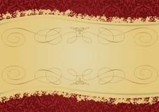 Uitstekende Rode en Gouden decoratieve banner stock illustratie