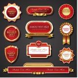Uitstekende rode gouden kader vectorbanners Royalty-vrije Stock Fotografie