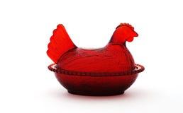 Uitstekende rode kip het nestelen schotel Royalty-vrije Stock Foto's
