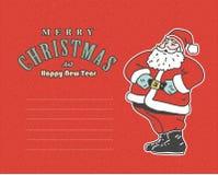 Uitstekende rode prentbriefkaar met Santa Claus en plaats voor uw tekst Royalty-vrije Stock Foto's
