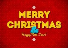Uitstekende rode Vrolijke Kerstkaart met het van letters voorzien Stock Foto
