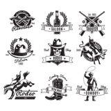 Uitstekende Rodeo Zwarte Etiketten stock illustratie
