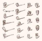 Uitstekende Rokende pijp Antieke voorhistorische tabak voor een elegante heer Hoofden en gezichten van verschillende mensen stock illustratie
