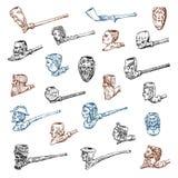 Uitstekende Rokende pijp Antieke voorhistorische tabak voor een elegante heer Hoofden en gezichten van verschillende mensen royalty-vrije illustratie