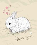 Uitstekende romantische kaart met leuk dier. Stock Afbeelding
