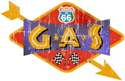 Uitstekende route 66 benzinestationteken Stock Foto's