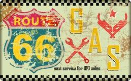 Uitstekende route 66 benzinestationteken, vector illustratie