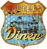 Uitstekende route 66 diner teken, Royalty-vrije Stock Afbeelding