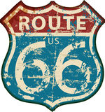 Uitstekende route 66 teken, grungy vector stock illustratie