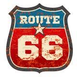 Uitstekende route 66 verkeersteken met grunge verontruste geroeste textuur vectorillustratie vector illustratie