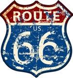 Uitstekende route 66 verkeersteken, vector Stock Afbeelding