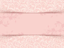Uitstekende roze uitnodigingskaart met bloemenpatroon Vector eps-10 Royalty-vrije Stock Fotografie