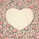 Uitstekende rozen in vorm van een hart Vector Royalty-vrije Stock Fotografie