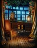 Uitstekende ruimte met boeken stock illustratie