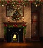 Uitstekende ruimte met de decoratie van Kerstmis royalty-vrije illustratie