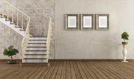 Uitstekende ruimte met uitstekende trap royalty-vrije illustratie