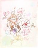 Uitstekende schets van de bloemen Stock Fotografie