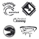 Uitstekende schoonmakende de dienstemblemen Royalty-vrije Stock Foto