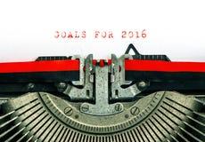 Uitstekende Schrijfmachine De DOELSTELLINGEN van de steekproeftekst VOOR 2016 Royalty-vrije Stock Afbeeldingen