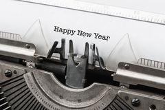 Uitstekende schrijfmachine met tekst gelukkig nieuw jaar Stock Fotografie