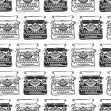 Uitstekende schrijfmachine naadloze achtergrond Hand getrokken vector Stock Fotografie