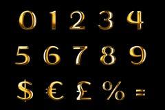Uitstekende seri van de het woordtekst van doopvont gele gouden metaal numerieke brieven vector illustratie