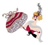 Uitstekende showgirldanser met paraplu Cabaretstijl, hand getrokken illustratie stock illustratie