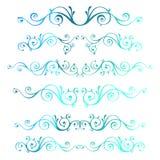 Uitstekende sier vectorkaders De blauwe kalligrafische winter Nieuw Y Vector Illustratie