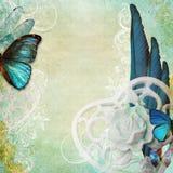 Uitstekende sjofele elegante achtergrond met vlinder Royalty-vrije Stock Afbeeldingen