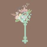 Uitstekende sleutel met bloemen Stock Afbeelding