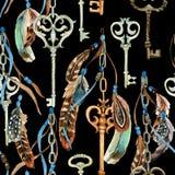 Uitstekende sleutel met veren en linten in de stijl van boho stock illustratie