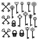 Uitstekende sleutels en slotreeks Vector ontwerp Stock Foto