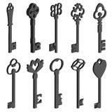 Uitstekende sleutels pseudo 3d Royalty-vrije Stock Afbeelding