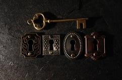 Uitstekende sloten en sleutel Stock Foto