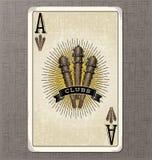 Uitstekende speelkaart vectorillustratie van de aas van clubs royalty-vrije illustratie