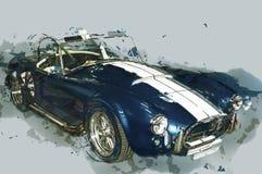 Uitstekende sportwagen getrokken illustratie Royalty-vrije Stock Afbeeldingen