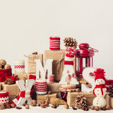 Uitstekende stijl Kerstman Klaus, hemel, vorst, zak De decoratie van Kerstmis Royalty-vrije Stock Foto
