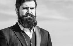 Uitstekende stijl lange baard Gezichts van de haarbaard en snor zorg Baardmodetrend Investeer in modieuze verschijning Mens royalty-vrije stock afbeeldingen