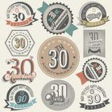 Uitstekende stijl 30 verjaardagsinzameling. Stock Afbeeldingen