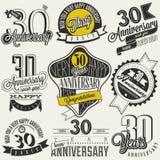 Uitstekende stijl 30 verjaardagsinzameling Stock Afbeeldingen