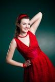 Uitstekende stijldame in rood Royalty-vrije Stock Afbeelding