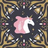 Uitstekende stijlprentbriefkaar met eenhoornpatroon Artemis-symbool in oude Griekse mythologie Het hoofd, bloemen unieke kader va vector illustratie