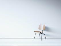 Uitstekende stoel op de witte muur 3d geef terug Stock Foto