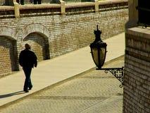 Uitstekende straatlantaarn in sibiu transilvania Stock Afbeelding