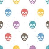 Uitstekende suikerschedels Naadloos patroon op witte achtergrond Stock Foto