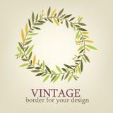 Uitstekende tak met bladeren voor de kaarten van de decoratiegroet, huwelijksuitnodiging Stock Foto