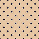 Uitstekende Tan Seamless Pattern met Marineblauwe Stippen Stock Foto's