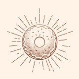 Uitstekende tatoegeringsillustratie Abstract Vectordoughnutteken, Symbool of Logo Template in Dot Work Style en Retro Stralen stock illustratie