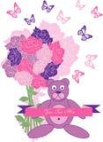 Uitstekende teddybeer met rozen Royalty-vrije Stock Foto